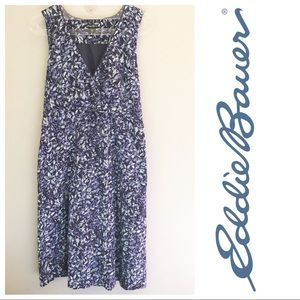 EDDIE BAUER Dress Sleeveless Lined Cotton Floral
